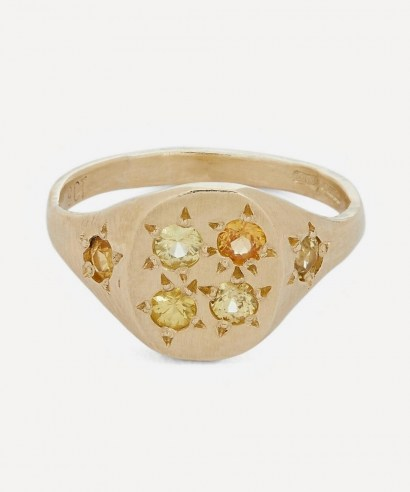 SEB BROWN Gold Neapolitan Yellow Multi-Stone Signet Ring