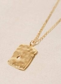 Mint Velvet Gold Tone Tag Pendant Necklace | beaten look pendants