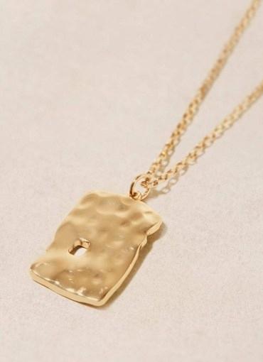 Mint Velvet Gold Tone Tag Pendant Necklace | beaten look pendants