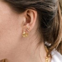 MISSOMA gold double beaded mini hoops