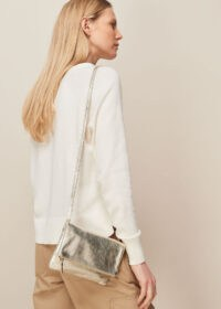 WHISTLES ISSY MINI FOLDOVER BAG / metallic gold crossbody