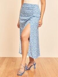 Reformation Grazie Skirt Marie | blue floral split skirts