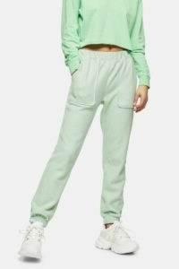 Topshop Green Brushed Oversized Joggers ~ pocket detail jogging bottoms