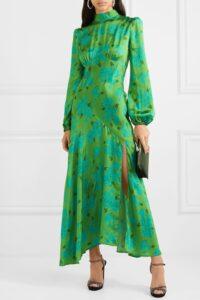 DE LA VALI Clara breen floral-print satin midi dress / fluid cut on the bias dresses