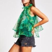 RIVER ISLAND Green floral tie neck organza top ~ floaty semi sheer tops