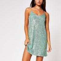 River Island Green sequin slip dress | shimmering cami dresses