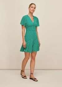 WHISTLES ELEPHANT PRINT DRESS / green animal print dresses
