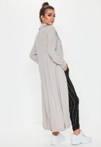 Missguided grey long sleeve maxi duster jacket / longline lightweight coats