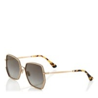 JIMMY CHOO ALINE Grey Shaded Gold Mirror Square Sunglasses | glamorous summer eyewear