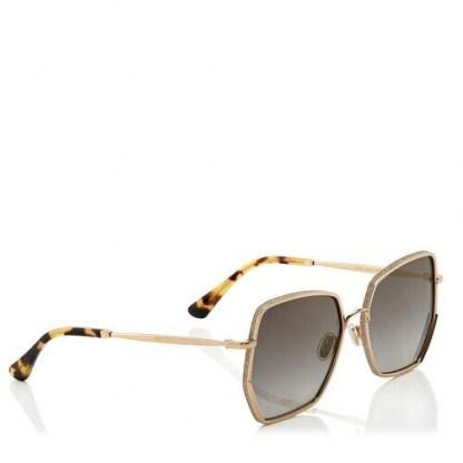 JIMMY CHOO ALINE Grey Shaded Gold Mirror Square Sunglasses | glamorous summer eyewear - flipped