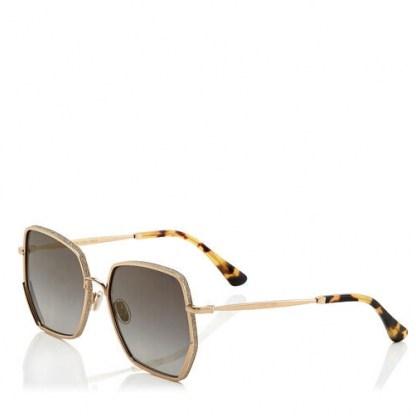 JIMMY CHOO ALINE Grey Shaded Gold Mirror Square Sunglasses | glamorous summer eyewear