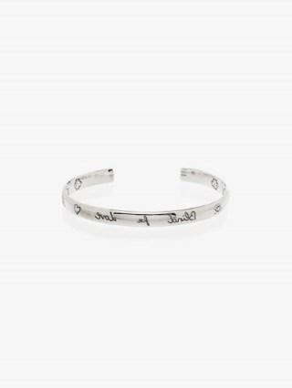 Gucci Sterling Silver Blind For Love Cuff Bracelet / designer slogan bangles / bracelets / narrow cuffs - flipped