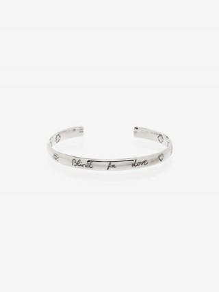 Gucci Sterling Silver Blind For Love Cuff Bracelet / designer slogan bangles / bracelets / narrow cuffs
