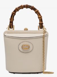 Gucci White Marina Mini Leather Bucket Bag / small wooden top handle bags