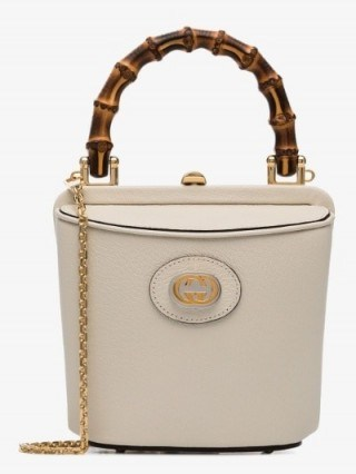 Gucci White Marina Mini Leather Bucket Bag / small wooden top handle bags - flipped