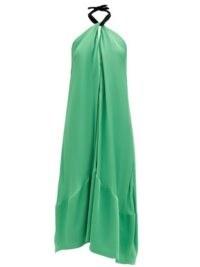 COLVILLE Halterneck-tie crepe dress ~ green fluid fabric halter dresses