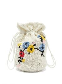 GANNI Hand-beaded floral drawstring pouch