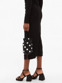 GANNI Hand-beaded polka-dot drawstring pouch / small mono bags