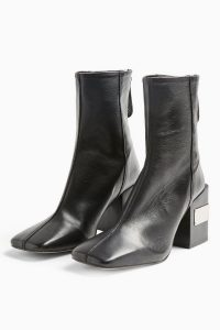 TOPSHOP HARRIS Black Block Boots ~ metal detail block heels ~ square toes