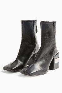 TOPSHOP HARRIS Black Block Boots ~ metal detail block heels ~ square toes