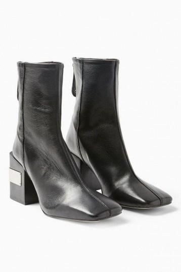 TOPSHOP HARRIS Black Block Boots ~ metal detail block heels ~ square toes - flipped