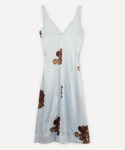 GANNI Heavy Satin Flower Print Slip Midi-Dress - flipped
