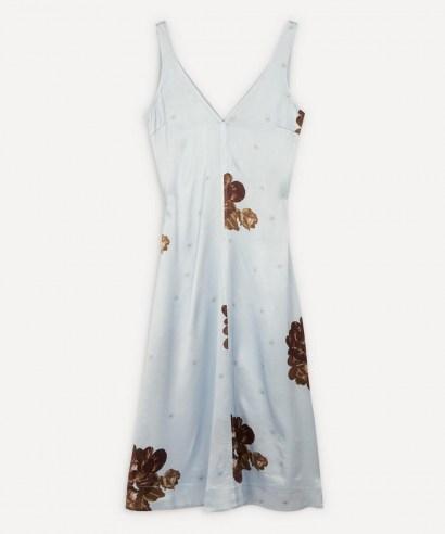 GANNI Heavy Satin Flower Print Slip Midi-Dress
