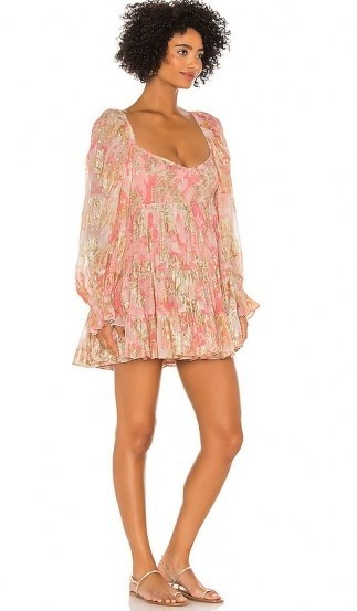 HEMANT AND NANDITA x REVOLVE Bloom Babydoll Dress / short pink floaty dresses - flipped