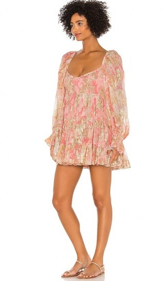 HEMANT AND NANDITA x REVOLVE Bloom Babydoll Dress / short pink floaty dresses