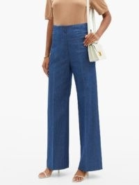 CONNOLLY High-rise cotton-blend chambray wide-leg trousers ~ lightweight denim jeans ~ high waisted