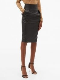 ALEXANDRE VAUTHIER High-rise leather pencil skirt ~ luxury black cinched waist skirts