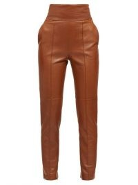 ALEXANDRE VAUTHIER High-rise leather trousers / luxury slim fit pants