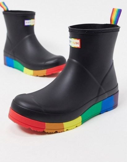 Hunter Original Pride Play wellies in black and rainbow   multicoloured ankle wellington boots - flipped