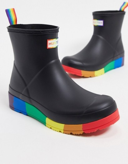Hunter Original Pride Play wellies in black and rainbow   multicoloured ankle wellington boots