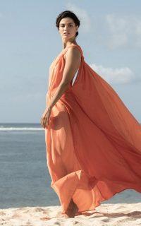 Kalita Inana Silk Maxi Dress Orange / flowing summer dresses