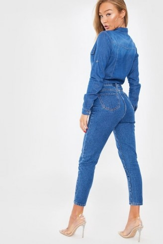 In The Style INDIGO SEAM DETAIL MOM JEANS
