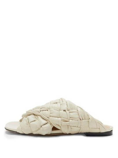 BOTTEGA VENETA Intrecciato-woven leather slides / textured luxe slide - flipped