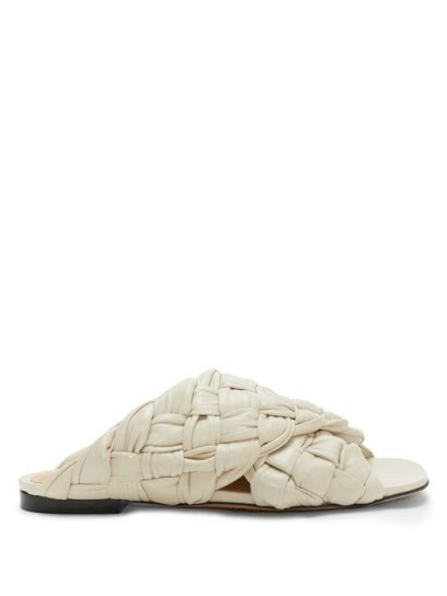 BOTTEGA VENETA Intrecciato-woven leather slides / textured luxe slide
