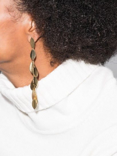 Isabel Marant leaf drop earrings / longline drops - flipped
