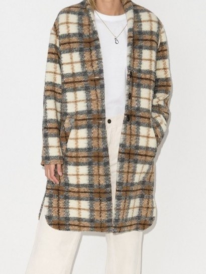 Isabel Marant Étoile Gabriel checked single-breasted coat / curved hem coats - flipped