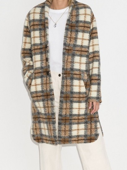 Isabel Marant Étoile Gabriel checked single-breasted coat / curved hem coats