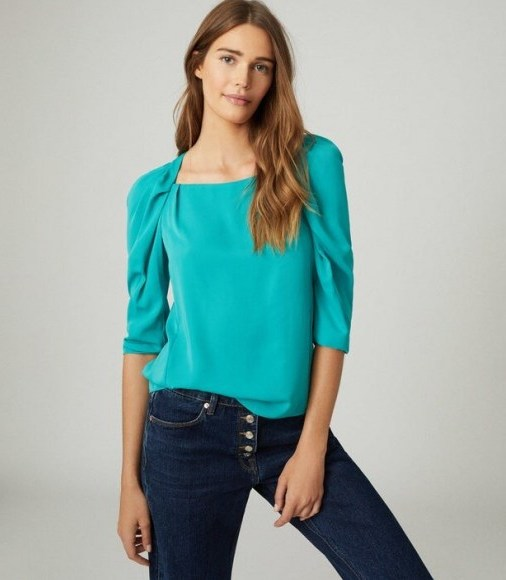 REISS ISABELLE RUCHED SLEEVE STRAIGHT NECK TOP TEAL - flipped