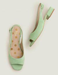 Boden Ivy Low Heel Slingbacks – Pistachio Ice / green low-heel slingback sandals