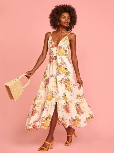 REFORMATION Jaden Dress Bouquet / strappy summer fit and flare - flipped