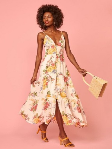 REFORMATION Jaden Dress Bouquet / strappy summer fit and flare