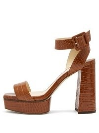 JIMMY CHOO Jax 115 crocodile-effect leather platform sandals ~ croc embossed ankle strap platforms