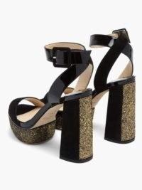 JIMMY CHOO Jax 115 leather platform sandals – glitter embellished platforms