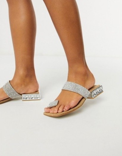 Jeffrey Campbell Alise flat sandals with toe post in multi / square heel diamante sandal - flipped