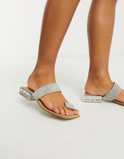 Jeffrey Campbell Alise flat sandals with toe post in multi / square heel diamante sandal