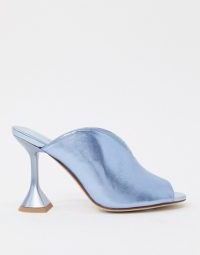 Jeffrey Campbell Vida heeled sandals in blue metallic / shiny peep toes